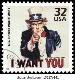 UNITED STATES -Â?Â? CIRCA 1998: A Canceled stamp printed in USA showing an image of Uncle Sam from World War: I Want You. circa 1998.