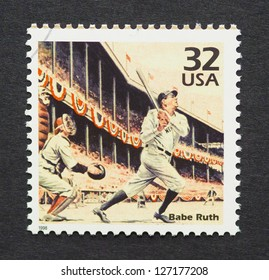 UNITED STATES -Â?Â? CIRCA 1998: A postage stamp printed in USA showing an image of Babe Ruth, circa 1998.