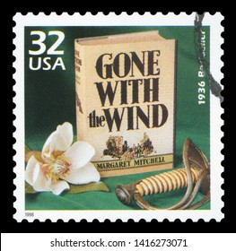 UNITED STATES CIRCA 1998: a postage stamp printed in USA showing an image of Gone with the Wind novel by Margaret Mitchell, circa 1998.
