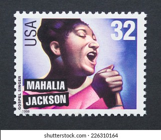 UNITED STATES - CIRCA 1998: a postage stamp printed in USA showing an image of singer Mahalia Jackson, circa 1998.