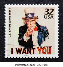 UNITED STATES – CIRCA 1998: A postage stamp printed in USA showing an image of Uncle Sam from World War I used in military recruitment campaign, circa 1998.