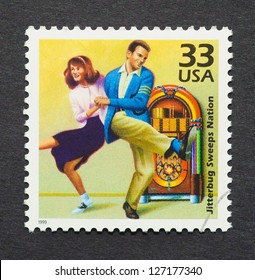 UNITED STATES - CIRCA 1999: A postage stamp printed in USA showing an image of a couple dancing jitterbug, circa 1999.
