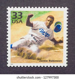 UNITED STATES � CIRCA 1999: a postage stamp printed in USA showing an image of Jackie Robinson, circa 1999.