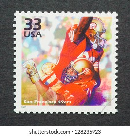 UNITED STATES � CIRCA 1999: a postage stamp printed in USA celebrating the four Super Bowl that San Francisco 49ers won in the eighties, circa 1999.