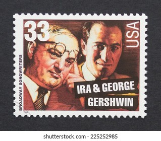 UNITED STATES - CIRCA 1999: a postage stamp printed in USA showing an image of composers George & Ira Gershwin, circa 1999.