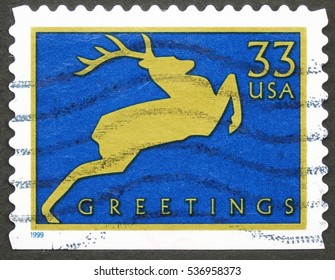 UNITED STATES - CIRCA 1999: A stamp printed in United States of America shows deer, circa 1999