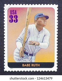 UNITED STATES - CIRCA 2000: a postage stamp printed in USA showing an image of Babe Ruth, circa 2000.