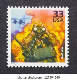 UNITED STATES - CIRCA 2000: a postage stamp printed in USA showing an image of a Gulf War soldier, circa 2000.