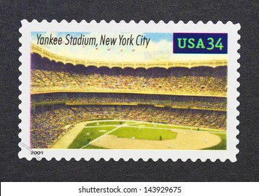 UNITED STATES - CIRCA 2000: a postage stamp printed in USA showing an image of Yankee Stadium in New York City, circa 2000.