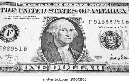 UNITED STATES �¢?? CIRCA 2001: George Washington on 1 Dollar 2001 Banknote. Commander of the continental army in the American revolutionary war during 1775-1783 and first president during 1789-1797