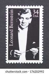 UNITED STATES - CIRCA 2001: a postage stamp printed in USA showing an image of Leonard Bernstein, circa 2001.