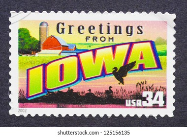 UNITED STATES - CIRCA 2002: a postage stamp printed in USA showing an image of the Iowa state, circa 2002.