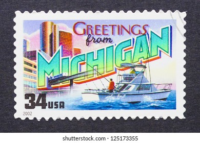 UNITED STATES - CIRCA 2002: a postage stamp printed in USA showing an image of the Michigan state, circa 2002.