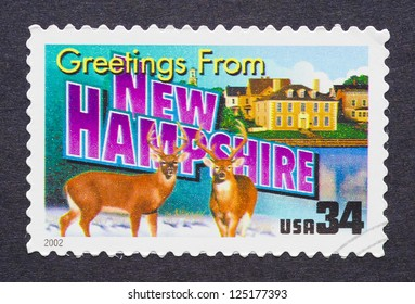 UNITED STATES - CIRCA 2002: a postage stamp printed in USA showing an image of the New Hampshire state, circa 2002.