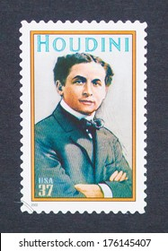 UNITED STATES - CIRCA 2002: a postage stamp printed in USA showing an image of Harry Houdini, circa 2002.