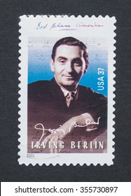 UNITED STATES - CIRCA 2002: a postage stamp printed in USA showing an image of president Irving Berlin, circa 2002.