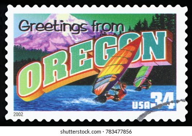 UNITED STATES - CIRCA 2002: a postage stamp printed in USA showing an image of the Oregon state, circa 2002.
