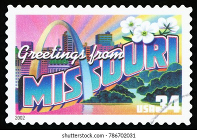 UNITED STATES - CIRCA 2002: a postage stamp printed in USA showing an image of the Missouri state, circa 2002.