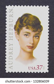 UNITED STATES - CIRCA 2003: a postage stamp printed in USA showing an image of Audrey Hepburn, circa 2003.