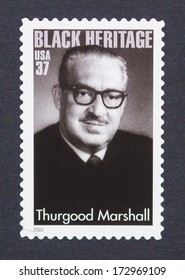 UNITED STATES - CIRCA 2003: a postage stamp printed in USA showing an image of Thurgood Marshall, circa 2003.