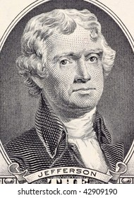 UNITED STATES – CIRCA 2003: Thomas Jefferson on 2 Dollars 2003 Banknote from USA.  Jefferson was the third president of the United States during 1801-1809.