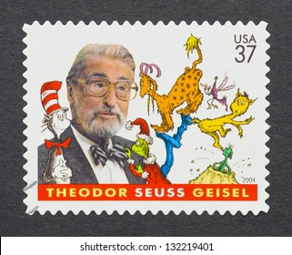 UNITED STATES - CIRCA 2004: a postage stamp printed in USA showing an image of Theodor Seuss Geisel, Dr. Seuss, circa 2004.