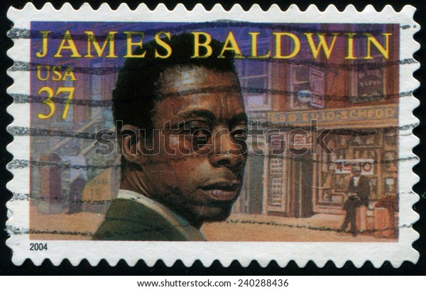 UNITED STATES - CIRCA 2004: a postage stamp printed in USA showing James Arthur Baldwin (August 2, 1924 - December 1, 1987) american novelist, essayist, playwright, poet, and  critic., circa 2004.