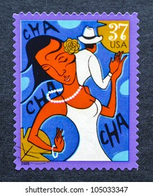 UNITED STATES  CIRCA 2005: postage stamp printed in USA showing an image of cha-cha-cha dancers, circa 2005.