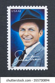 UNITED STATES - CIRCA 2008: a postage stamp printed in USA showing an image of singer Frank Sinatra, circa 2008.