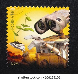 UNITED STATES - CIRCA 2011: postage stamp printed in USA showing an image of Wall-E movie, circa 2011.