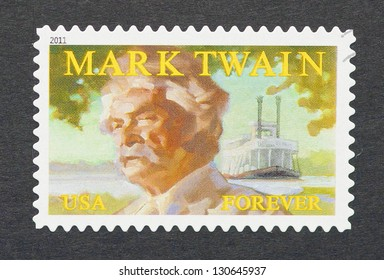 UNITED STATES - CIRCA 2011: a postage stamp printed in USA showing an image of Mark Twain, circa 2011.