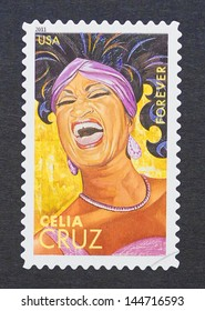 UNITED STATES - CIRCA 2011: a postage stamp printed in USA showing an image of Celia Cruz, circa 2011.