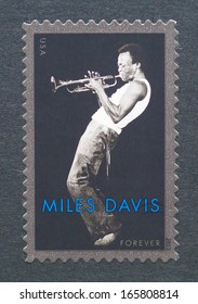 UNITED STATES - CIRCA 2012: a postage stamp printed in USA showing an image of Miles Davis, circa 2012.