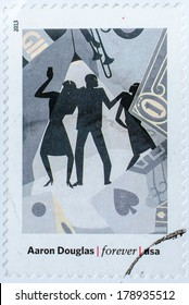 UNITED STATES - CIRCA 2013: a postage stamp printed in USA showing an image of a Aaron Douglas painting, circa 2013.