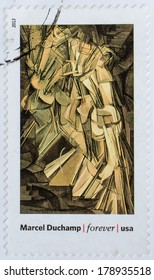 UNITED STATES - CIRCA 2013: a postage stamp printed in USA showing an image of a Marcel Dochamp painting, circa 2013.