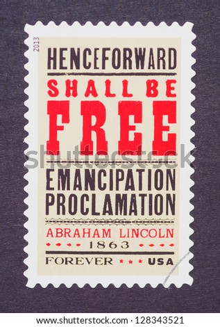 UNITED STATES � CIRCA 2013: a postage stamp printed in USA showing an image of the Emancipation Proclamation to commemorate the 150th anniversary of president Abraham Lincoln signature, circa 2013.