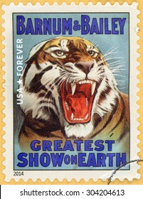 UNITED STATES - CIRCA 2014: forever stamp printed in USA (US) shows head of growling tiger; greatest show on earth; Barnum & Bailey; circus vintage posters; circa 2014