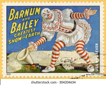UNITED STATES - CIRCA 2014: forever stamp printed in USA (US) shows smiling clown with white big hat in his hand and bowing, Barnum & Bailey greatest show on earth; circus vintage posters; circa 2014
