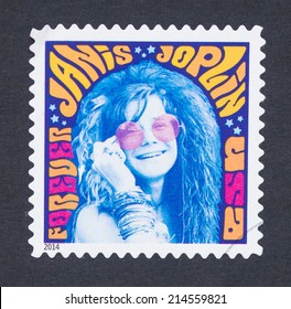 UNITED STATES - CIRCA 2014: a postage stamp printed in USA showing an image of Janis Joplin, circa 2014.