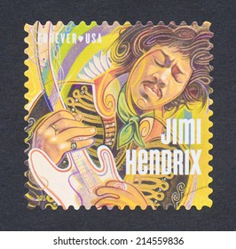 UNITED STATES - CIRCA 2014: a postage stamp printed in USA showing an image of Jimi Hendrix, circa 2014.