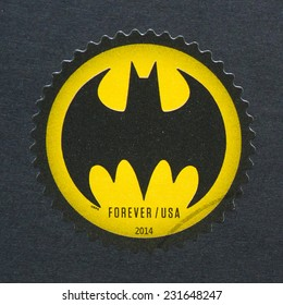 UNITED STATES - CIRCA 2014: postage stamp printed in USA showing an image of Batman logo celebrating the 75th anniversary of this cartoon, circa 2014.