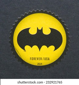 UNITED STATES - CIRCA 2014: a postage stamp printed in USA showing an image of Batman logo celebrating the 75th anniversary of this cartoon, circa 2014.