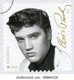 UNITED STATES - CIRCA 2015: forever stamp printed in USA (US) shows black & white photograph of Elvis Presley (singer, guitarist, musician, actor, king of rock and roll, star); music icons; circa 2015