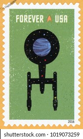 UNITED STATES - CIRCA 2016: forever post stamp printed in USA (US) shows silhouette of Starship Enterprise and planet; Star Trek series; Scott 5134 green, circa 2016
