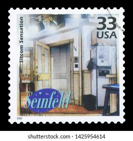 UNITED STATES CIRCA OF AMERICA - 2000: a postage stamp printed in USA showing an image of Seinfeld sitcom, circa 2000.