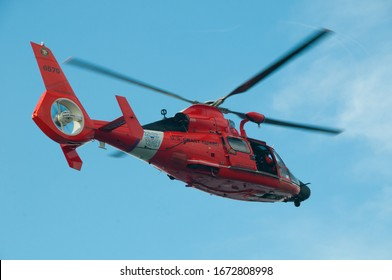 United States Coast Guard Cutter Halibut and Dolphin Helicopter HH-65 off Point Conception, California, USA October 14, 2016