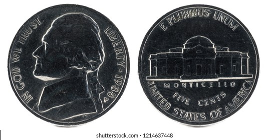 United States Coin. Five Cent 1988.