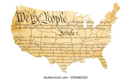 The United States Constitution concept with map and text . 3D rendering, Elements of this image furnished by National Archives