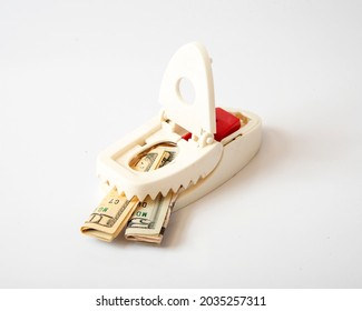 United States currency in a mousetrap, concept photo of how government stimulus checks and handouts may be a trap