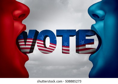 United States election voter and American vote campaign fight as Republican versus Democrat as two people with open mouths with text as a presidential candidate choice with 3D illustration elements.